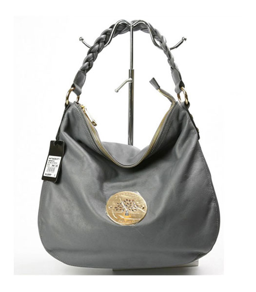 Mulberry Small Daria Hobo Handbag in Grey Leather
