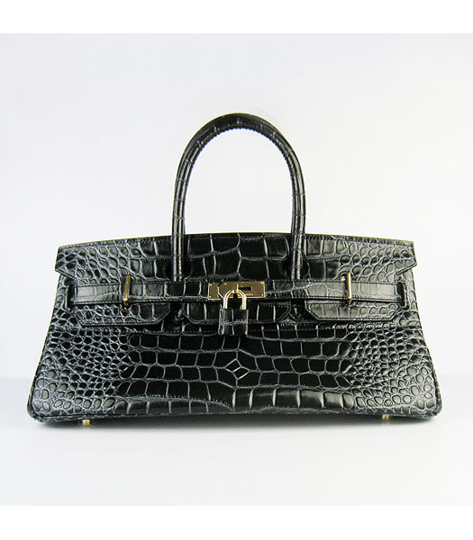 Hermes Birkin 42cm Black Croc Veins Leather Golden Metal