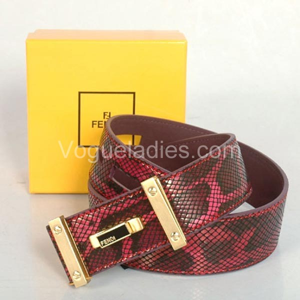 Fendi Belt Python Leather Gold Buckle in Red