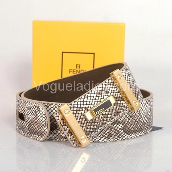 Fendi Belt Python Leather Gold Buckle in White