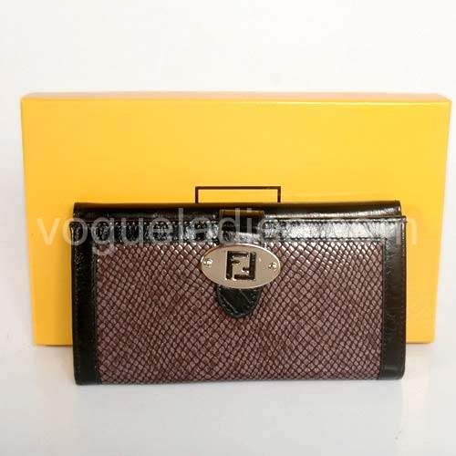 Fendi Wallet in Dark Coffee Snake Pattern 82114