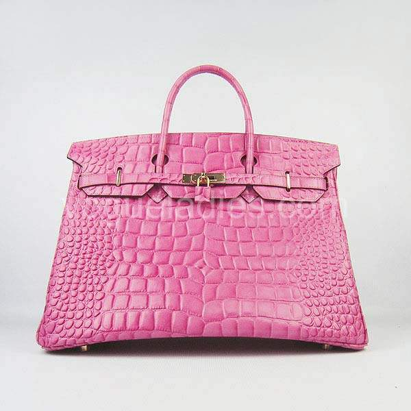 Hermes Birkin 40cm Peach Red Croc Leather Golden Metal