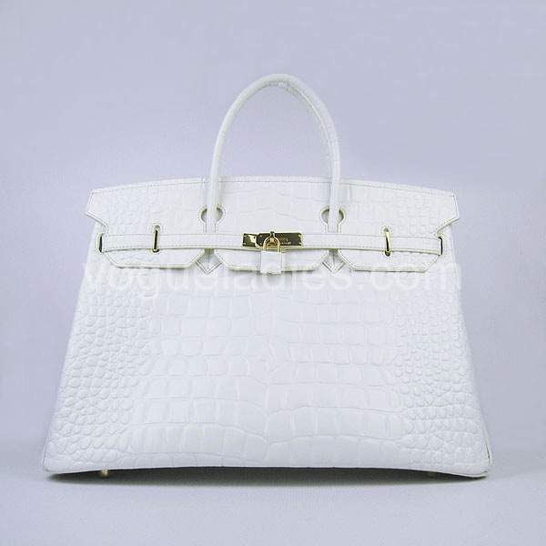 Hermes Birkin 40cm White Croc Leather Golden Metal