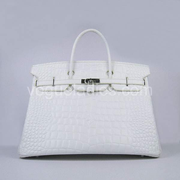 Hermes Birkin 40cm White Croc Leather Silver Metal