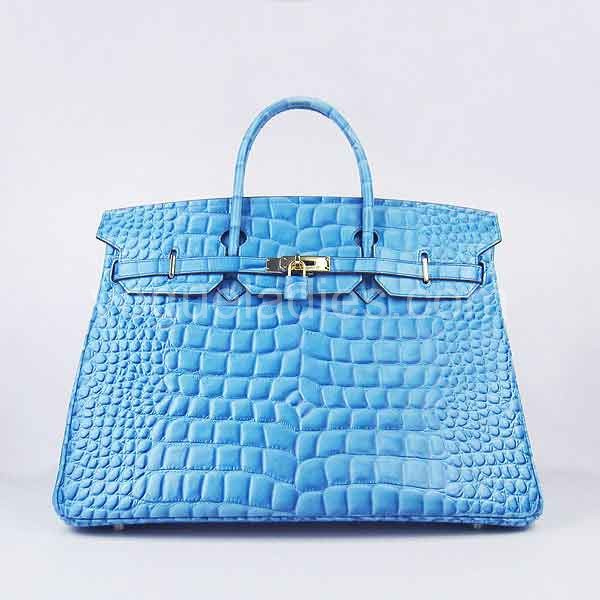 Hermes Birkin 40cm Light Blue Croc Leather Golden Metal