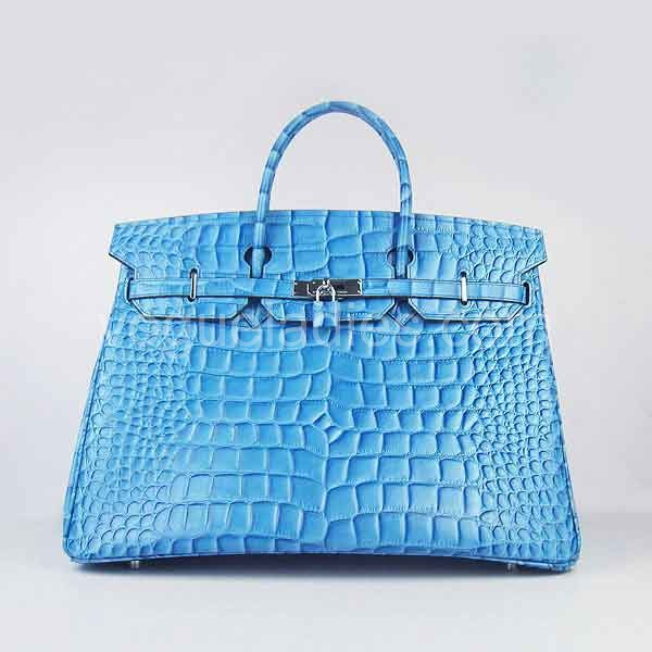 Hermes Birkin 40cm Light Blue Croc Leather Silver Metal