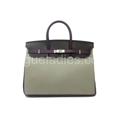 Hermes Birkin 40cm Three-Color Leather Silver Metal