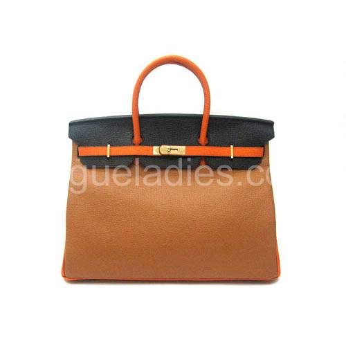 Hermes Birkin 40cm Three-Color Leather Golden Metal