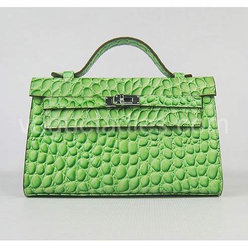 Hermes Kelly 22cm Green Stone Pattern Leather Silver Metal
