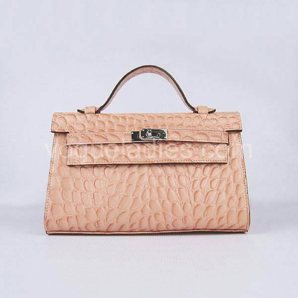 Hermes Kelly 22cm Light Orange Stone Pattern Leather Silver