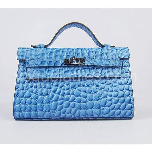 Hermes Kelly 22cm Blue Stone Pattern Leather Silver Metal