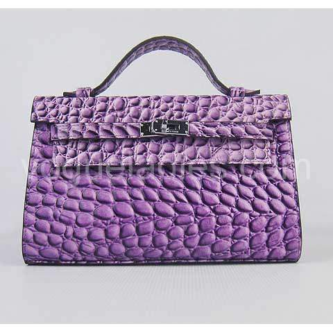 Hermes Kelly 22cm Purple Stone Pattern Leather Silver Metal