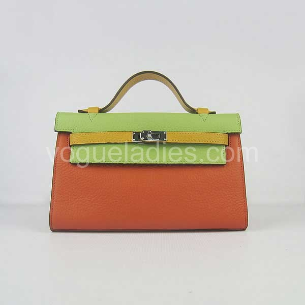 Hermes Kelly 22cm Three Color Togo Leather Silver Metal