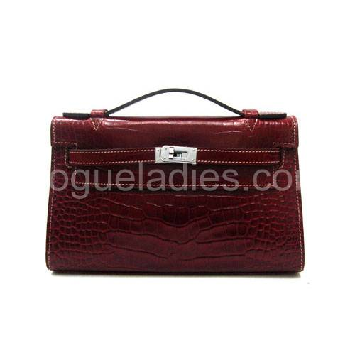 Hermes Kelly 22cm Red Croc Leather Silver Metal