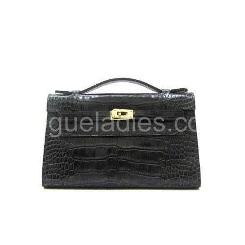 Hermes Kelly 22cm Silver Grey Croc Leather Golden Metal