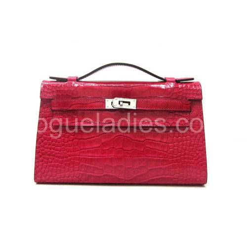 Hermes Kelly 22cm Peach Red Croc Leather Silver Metal