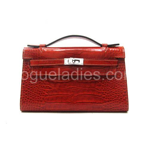 Hermes Kelly 22cm Light Coffee Croc Leather Silver Metal