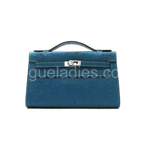 Hermes Kelly 22cm Middle Blue Croc Leather Silver Metal