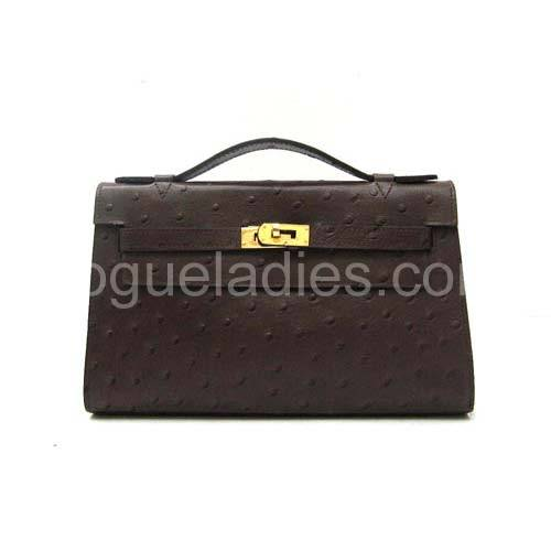 Hermes Kelly 22cm Dark Coffee Croc Leather Golden Metal