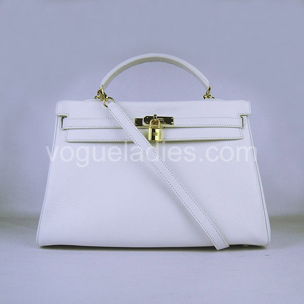 Hermes Kelly 35cm White Togo Leather Golden Metal