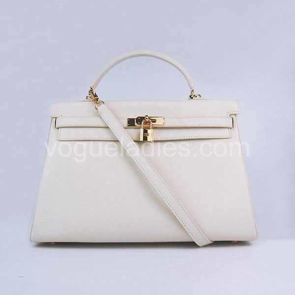 Hermes Kelly 35cm Cream Togo Leather Golden Metal