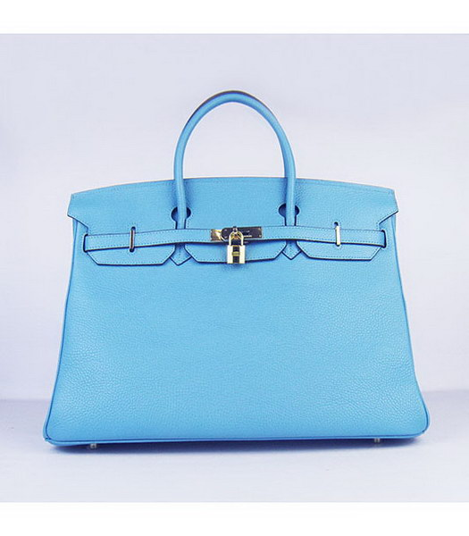 Hermes Birkin 40CM Handbag Light Blue Togo Leather Golden Metal