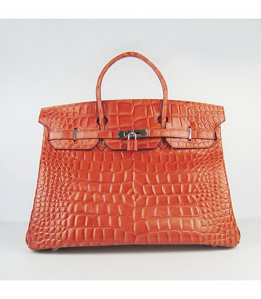 Hermes Birkin 40CM Handbag Orange Big Croc Veins Leather Silver Metal