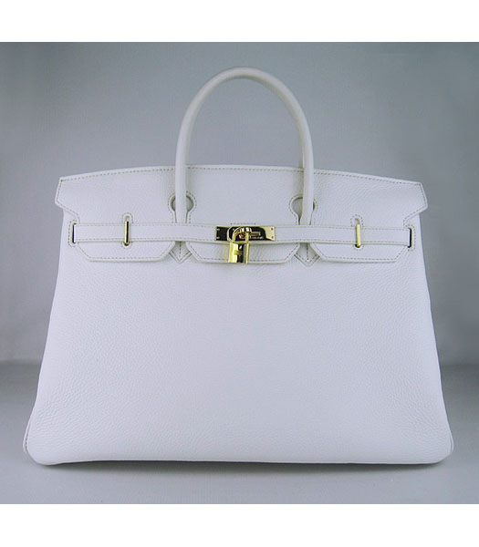 Hermes Birkin 40cm Bag White Togo Leather Golden Metal