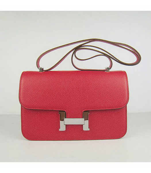 Hermes Constance Silver Lock Red Togo Leather Bag
