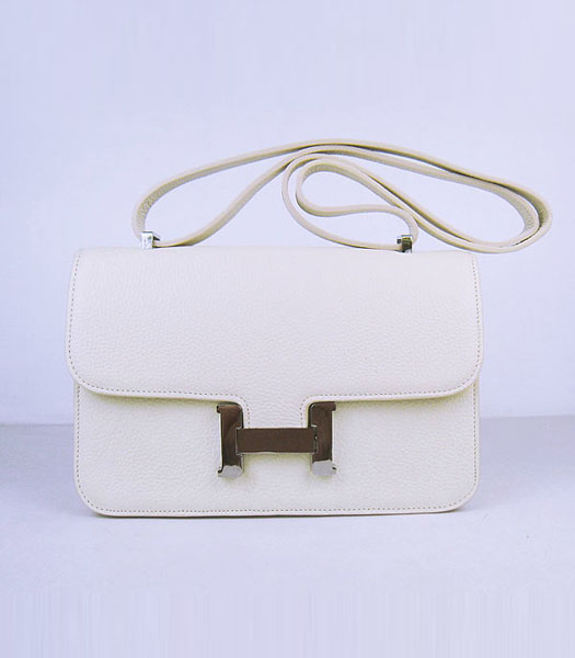 Hermes Constance Silver Lock Offwhite Togo Leather Bag