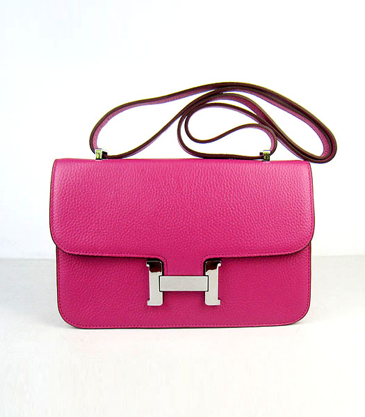 Hermes Constance Silver Lock Peach Togo Leather Bag