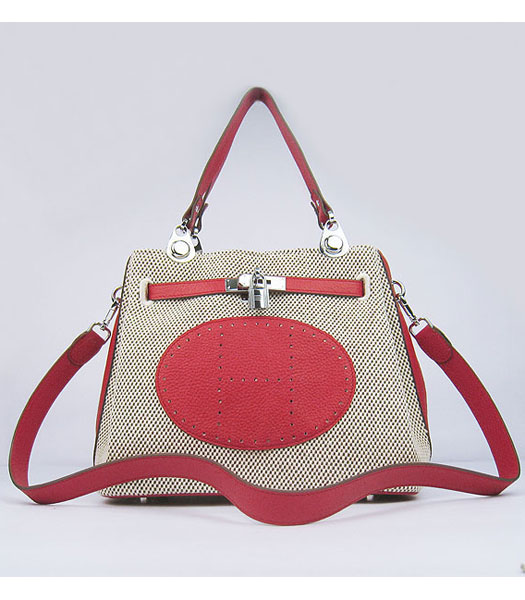 Hermes Mini So Kelly Bag Fabric with Red Togo Leather Silver Metal