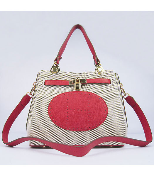 Hermes Mini So Kelly Bag Fabric with Red Togo Leather Golden Metal