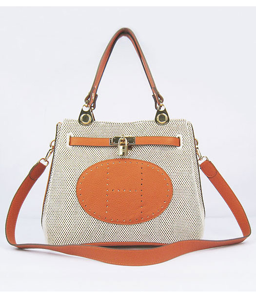 Hermes Mini So Kelly Bag Fabric with Orange Togo Leather Golden Metal