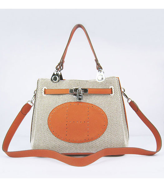 Hermes Mini So Kelly Bag Fabric with Orange Togo Leather Silver Metal