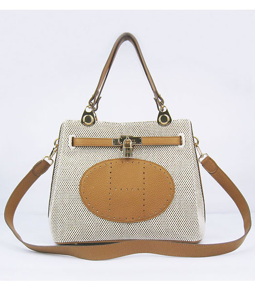 Hermes Mini So Kelly Bag Fabric with Light Coffee Togo Leather Golden Metal