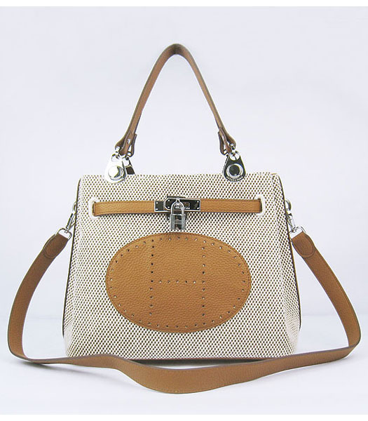 Hermes Mini So Kelly Bag Fabric with Light Coffee Togo Leather Silver Metal