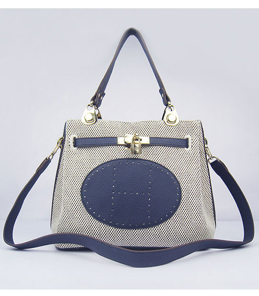 Hermes Mini So Kelly Bag Fabric with Dark Blue Togo Leather Golden Metal