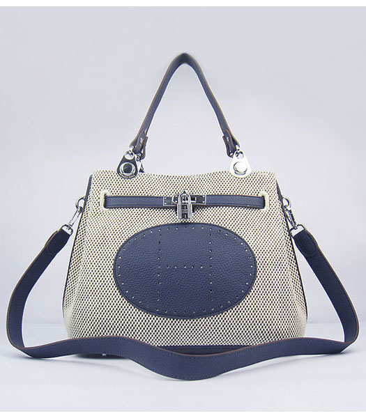 Hermes Mini So Kelly Bag Fabric with Dark Blue Togo Leather Silver Metal