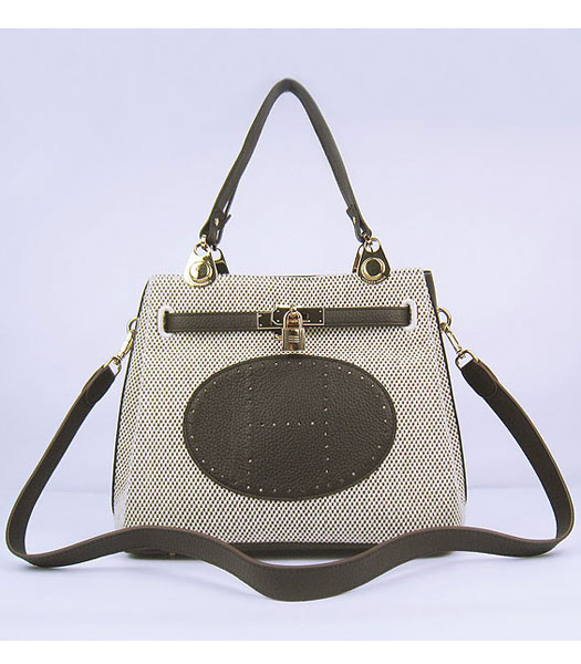 Hermes Mini So Kelly Bag Fabric with Dark Coffee Togo Leather Golden Metal