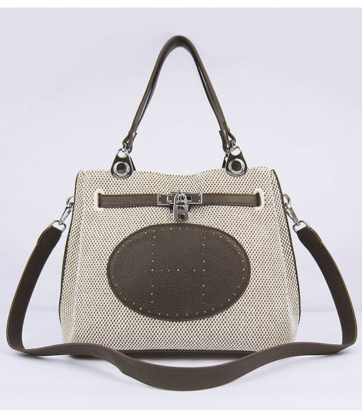 Hermes Mini So Kelly Bag Fabric with Dark Coffee Togo Leather Silver Metal