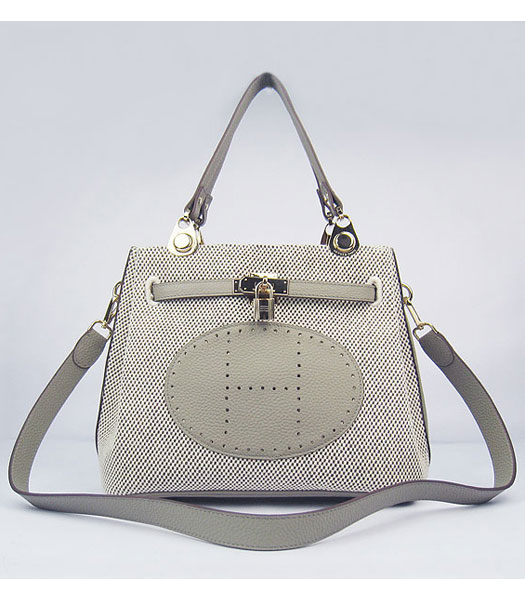 Hermes Mini So Kelly Bag Fabric with Grey Togo Leather Golden Metal