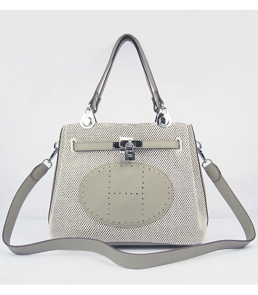 Hermes Mini So Kelly Bag Fabric with Grey Togo Leather Silver Metal