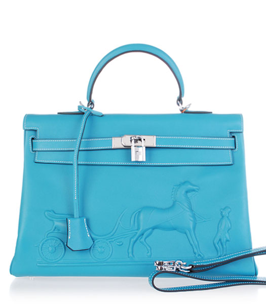 Hermes Kelly 35cm Horse-drawn Carriage Blue Plain Veins Handbags Silver Metal