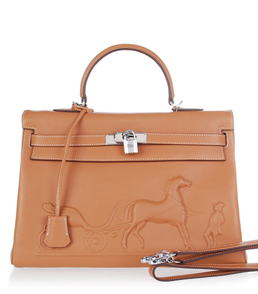 Hermes Kelly 35cm Horse-drawn Carriage Light Coffee Plain Veins Handbags Silver Metal