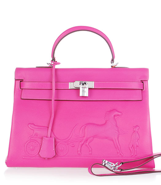 Hermes Kelly 35cm Horse-drawn Carriage Fuchsia Plain Veins Handbags Silver Metal
