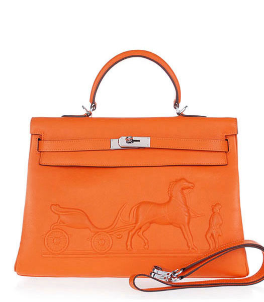 Hermes Kelly 35cm Horse-drawn Carriage Orange Plain Veins Handbags Silver Metal
