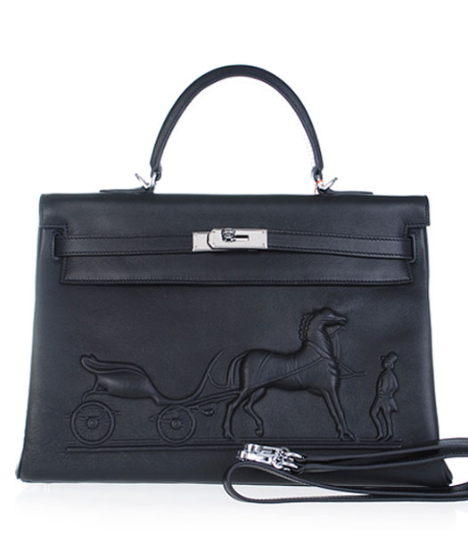 Hermes Kelly 35cm Horse-drawn Carriage Black Plain Veins Handbags Silver Metal