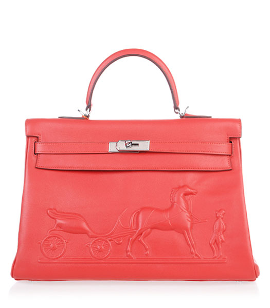Hermes Kelly 35cm Horse-drawn Carriage Red Plain Veins Handbags Silver Metal