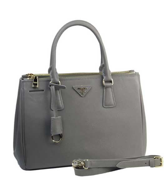 Prada Saffiano Grey Calfskin Leather Tote Small Bag